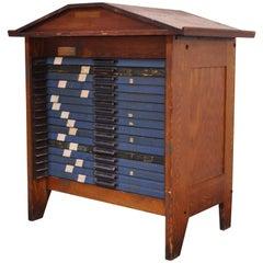 Antique Hamilton 16 Drawer Oak Letterpress Display Printers Type File Cabinet