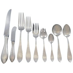 Antique Hammered by Shreve Sterling Silver Flatware Set Service Dinner 78 Pcs