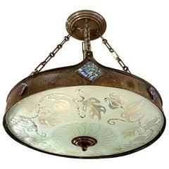 Antique Hammered Metal Light Fixture