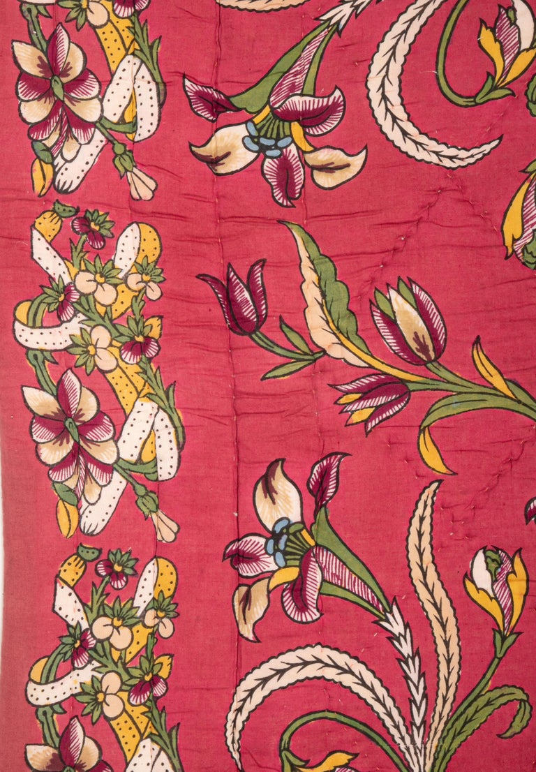 Tribal Antique Hand Block Printed and Painted Quilt from Anatolia, Turkey For Sale