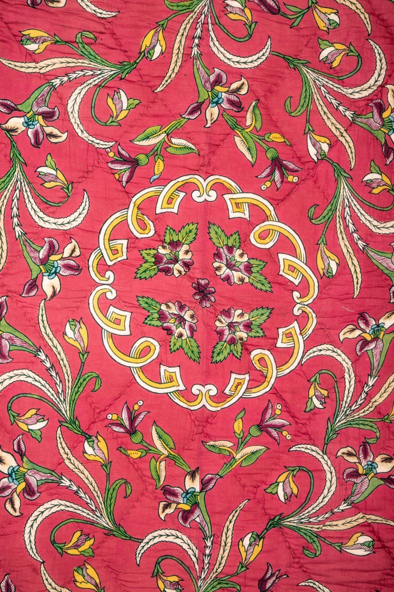 Turkish Antique Hand Block Printed and Painted Quilt from Anatolia, Turkey For Sale