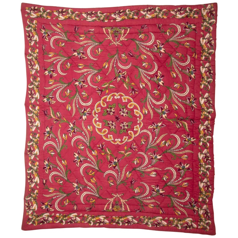 Antique Hand Block Printed and Painted Quilt from Anatolia, Turkey For Sale