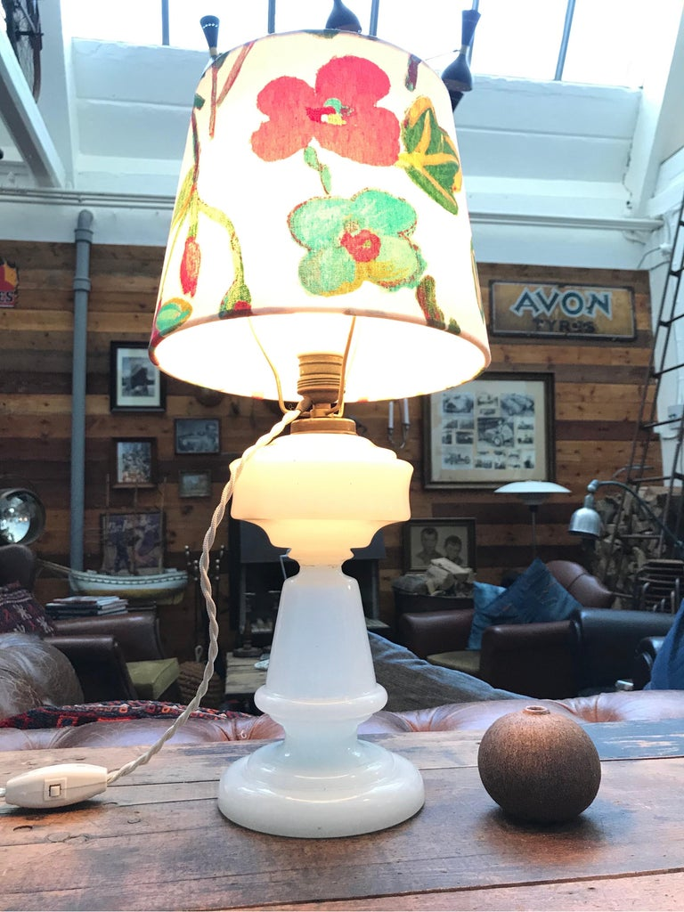 Antique Hand Blown Electrified Oil Lamp with a Limited Edition ArtbyMay Shade For Sale 2