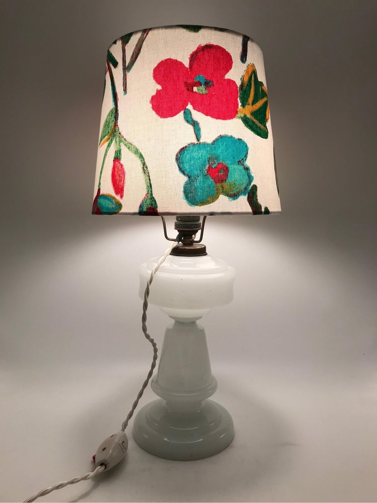 Antique hand blown electrified oil lamp with a limited edition ArtbyMay lamp shade in the manner of Joseph Frank. Being hand blown makes each of these antique lamps unique as there are not two the same also with the imperfections that antique blown
