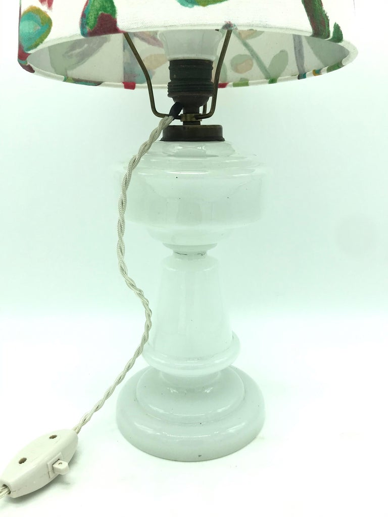Victorian Antique Hand Blown Electrified Oil Lamp with a Limited Edition ArtbyMay Shade For Sale