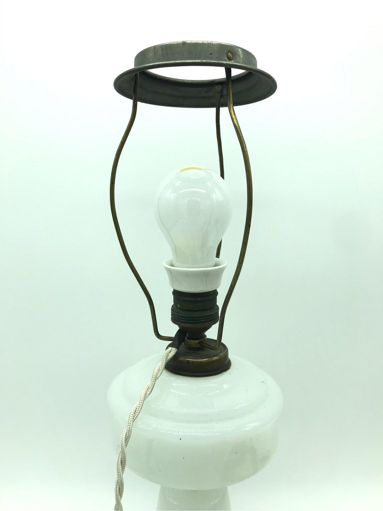 Hand-Crafted Antique Hand Blown Electrified Oil Lamp with a Limited Edition ArtbyMay Shade For Sale