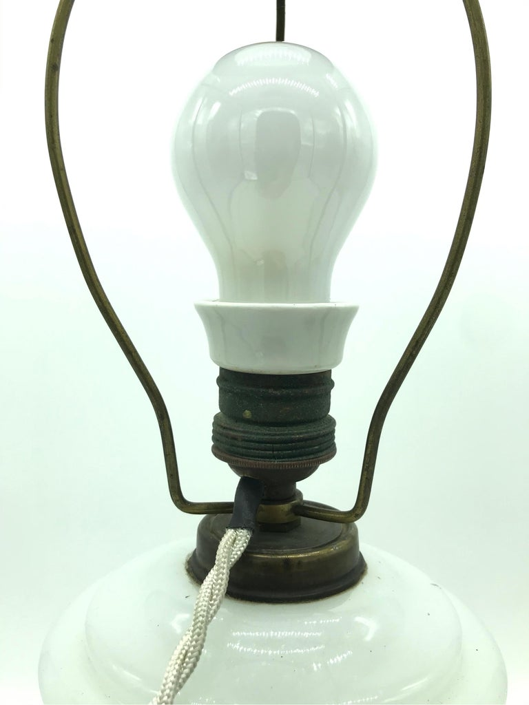 Late 19th Century Antique Hand Blown Electrified Oil Lamp with a Limited Edition ArtbyMay Shade For Sale