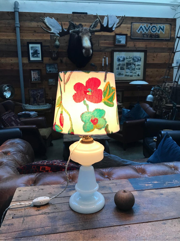 Blown Glass Antique Hand Blown Electrified Oil Lamp with a Limited Edition ArtbyMay Shade For Sale