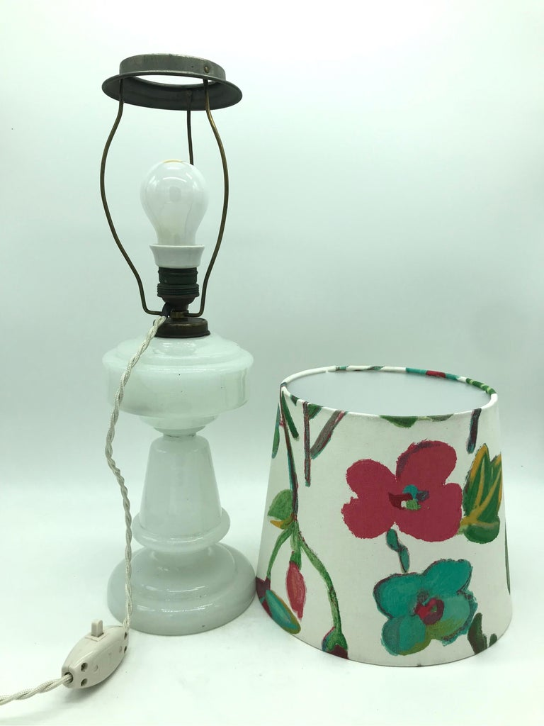 Antique Hand Blown Electrified Oil Lamp with a Limited Edition ArtbyMay Shade For Sale 1