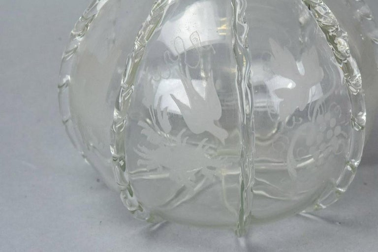 Antique Hand Blown Etched Art Glass Decanter In Good Condition For Sale In Great Barrington, MA