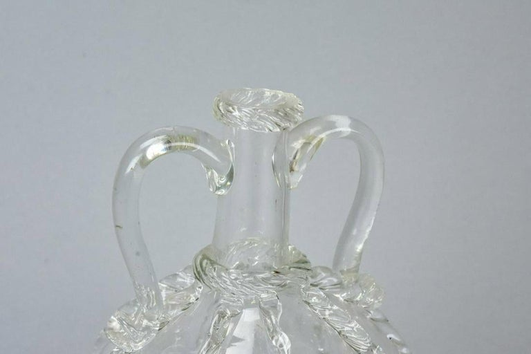 Antique Hand Blown Etched Art Glass Decanter For Sale 3