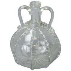 Antique Hand Blown Etched Art Glass Decanter