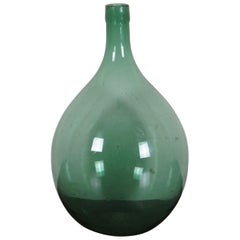 Antique Hand Blown Green Glass French Wine Demijohn Bonbonne Bottle Jug