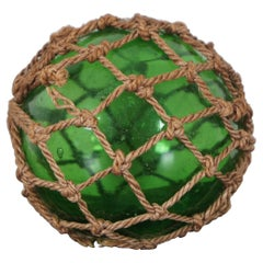 Antique Hand Blown Green Glass Japanese Float Fishing Net Nautical Buoy Marker