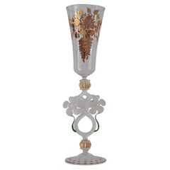 Antique Hand Blown Murano Glass Flute with Gilded Details and Flowers