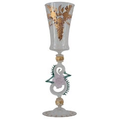 Antique Hand Blown Pink and Green Murano Glass Flute with Gilded Details