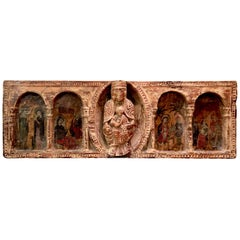 Antique Hand Carved and Hand Painted Large Piece of an Altar with Four Scenes