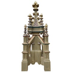 Antique Hand Carved and Hand Painted Wooden Gothic Tower Model with Gilt Finials