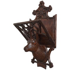 Antique Hand Carved Black Forest Ibex Sculpture Letter Rack for Wall Mounting