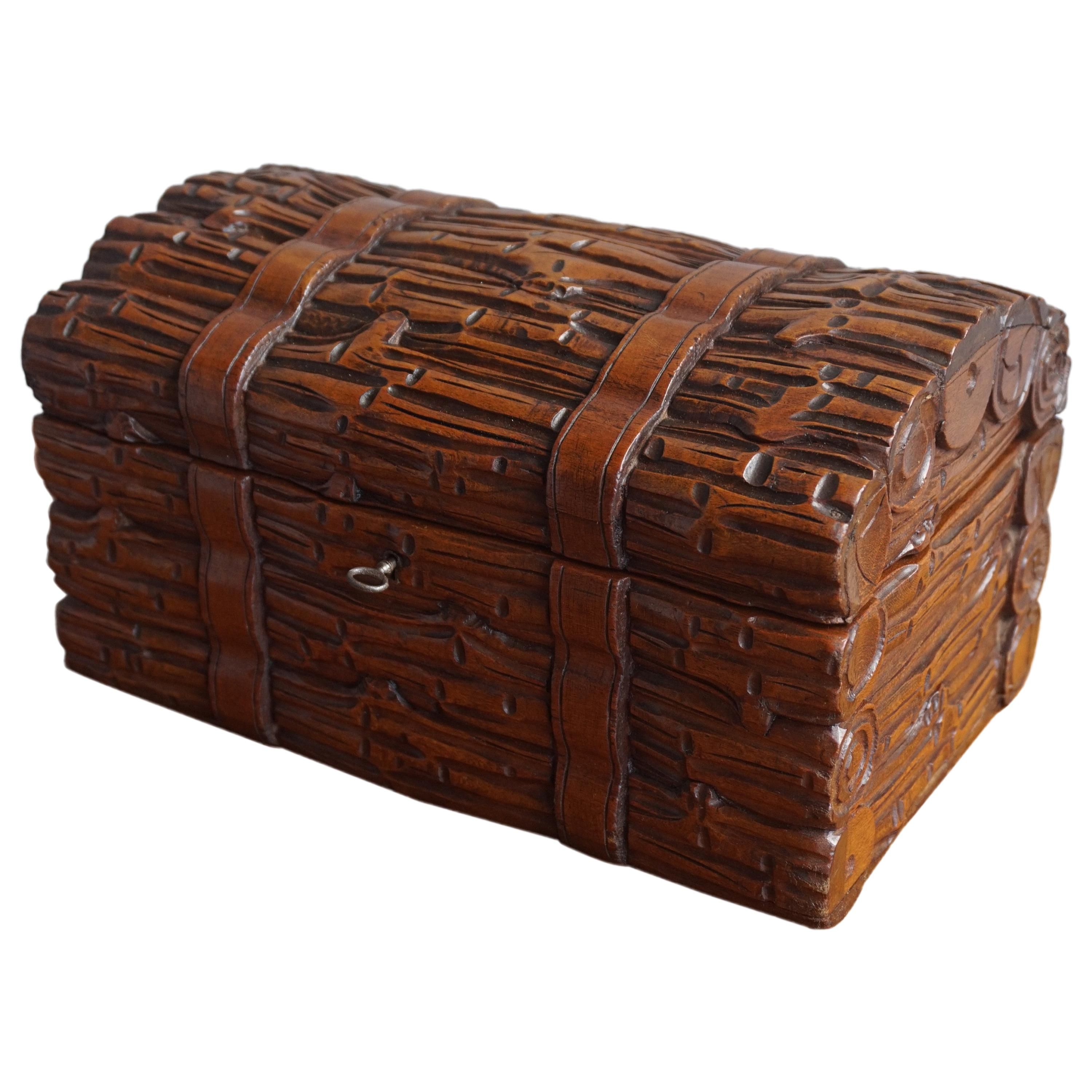 Antique Hand Carved Black Forest Wooden Chest or Trunk Shape Jewelry / Cigar Box