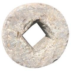 Antique Hand-Carved Cash Coin Garden Stone, 19th Century