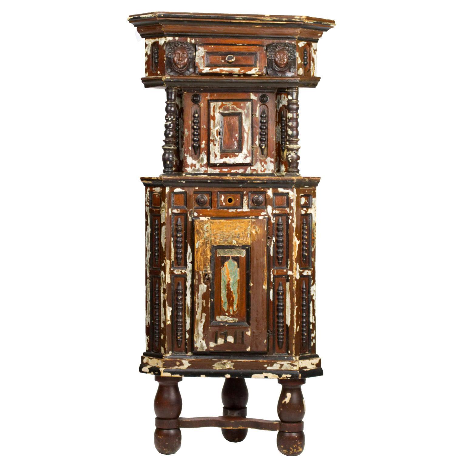 Antique Hand Carved Corner Cabinet 1711