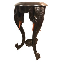 Antique Hand Carved Elephant Side Table from the Early 1900s