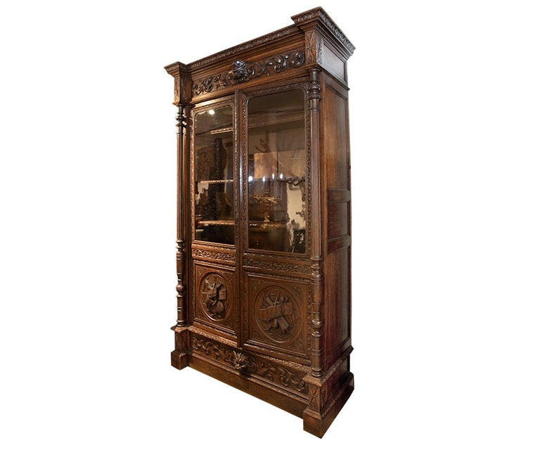 Louis XVI Antique Hand Carved French Oak Two Doors Bookcase For Sale