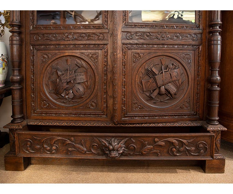 Hand-Carved Antique Hand Carved French Oak Two Doors Bookcase For Sale