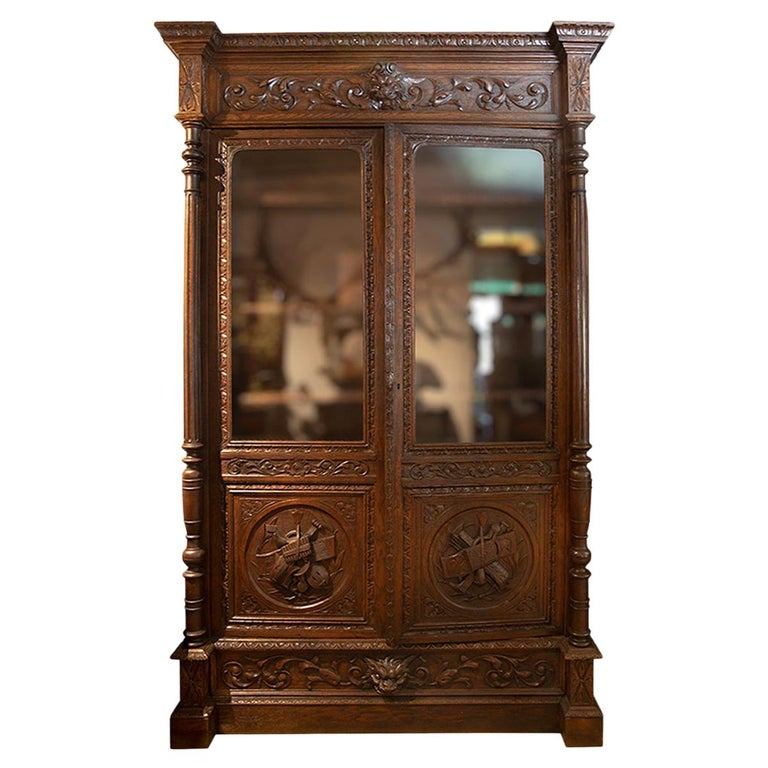 Antique Hand Carved French Oak Two Doors Bookcase For Sale