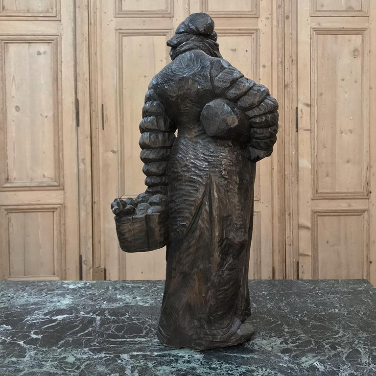 Antique Hand-Carved French Wood Statue of Becassine For Sale 5