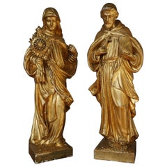 Antique Hand Carved Gilt Wooden Church Statue of Saint Francis & Clare of Assisi