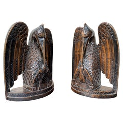 Antique Hand Carved Gothic Art Feeding Pelicans as Symbol of Christ Bookends