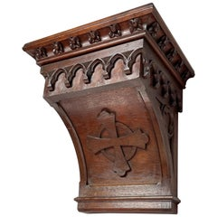 Antique Hand Carved Gothic Revival Wall Bracket or Console for a Saint Statue