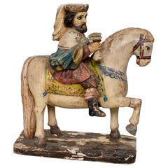Antique Hand Carved Hand Painted Wood Horse Sculpture Royal King on White Horse