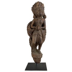 Antique Hand-Carved Krishna Figure