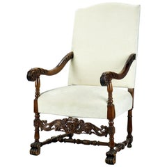 Antique Hand Carved Louis XIII Highback Armchair, 19th Century