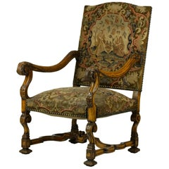 Antique Hand Carved Louis XIV Needlepoint Tapestry Highback Armchair, circa 1850