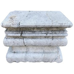 Antique Hand Carved Marble Stepped Plinth Base or Coffee Table