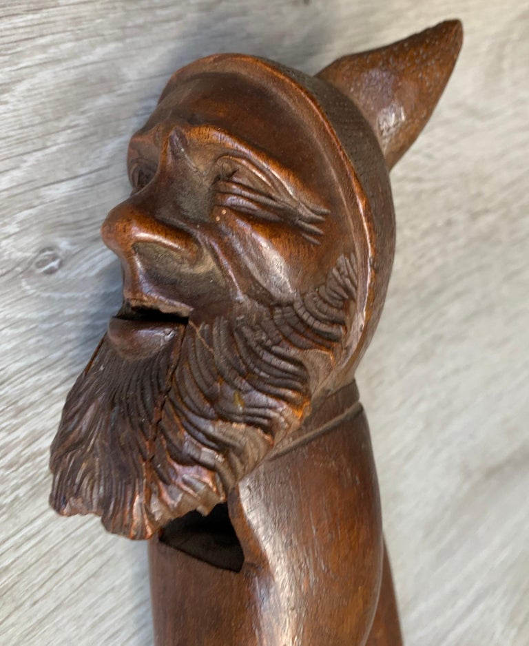 Antique Hand Carved and Mint Condition Black Forest Gnome Sculpture Nutcracker For Sale 6