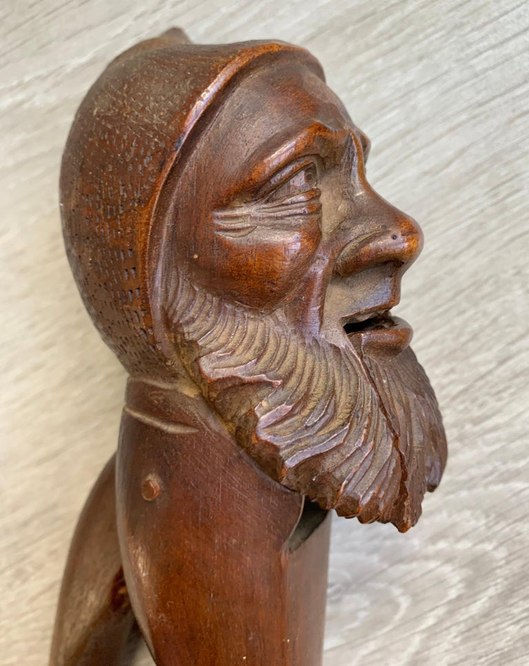 Antique Hand Carved and Mint Condition Black Forest Gnome Sculpture Nutcracker For Sale 8