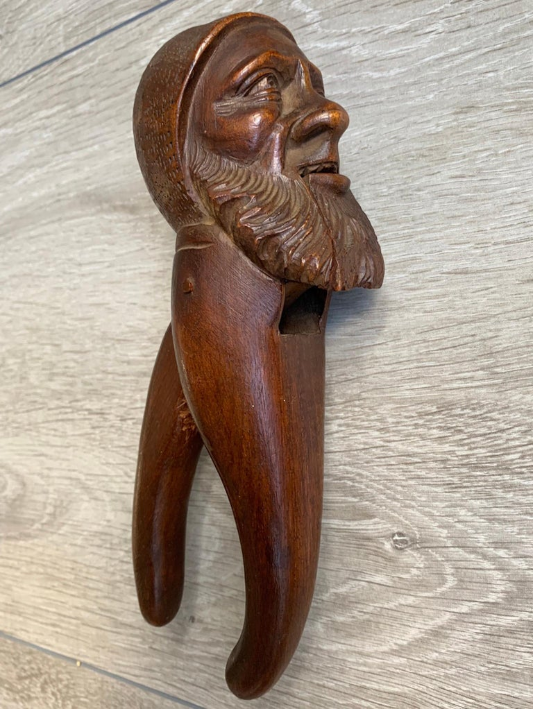 Antique Hand Carved and Mint Condition Black Forest Gnome Sculpture Nutcracker For Sale 13