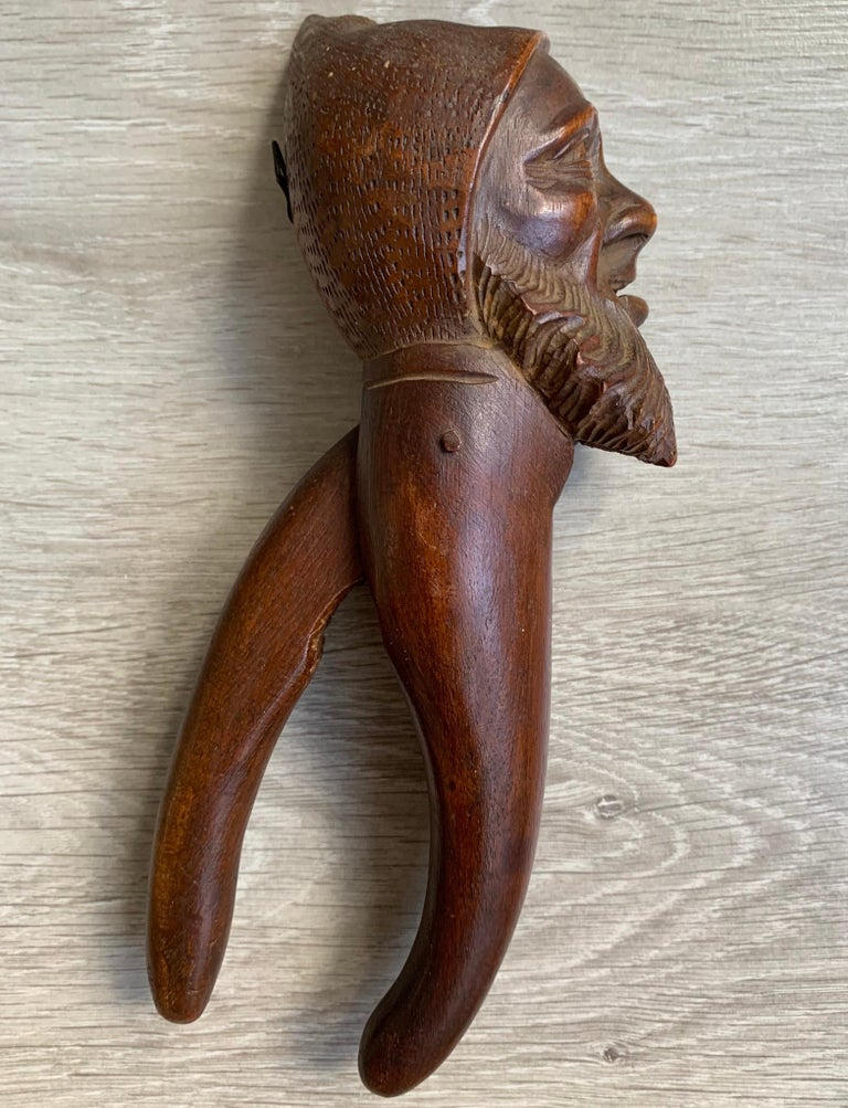 Hand-Carved Antique Hand Carved and Mint Condition Black Forest Gnome Sculpture Nutcracker For Sale