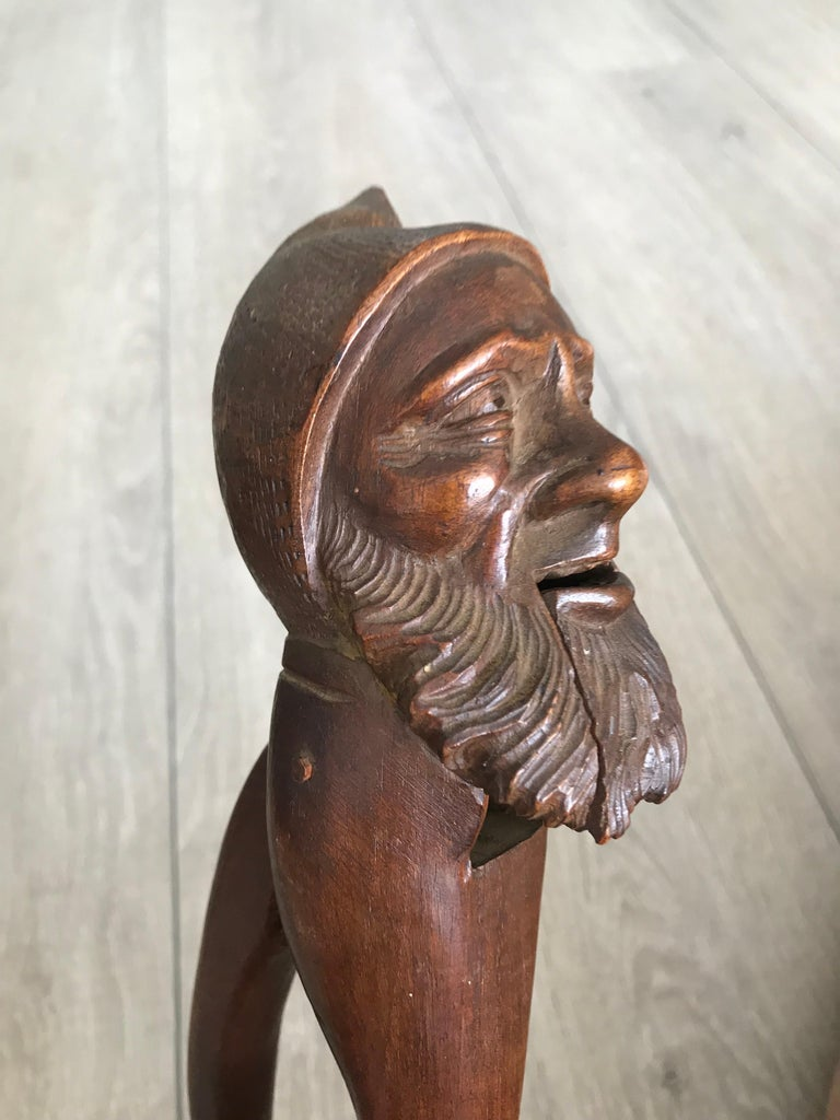 Antique Hand Carved and Mint Condition Black Forest Gnome Sculpture Nutcracker In Excellent Condition For Sale In Lisse, NL