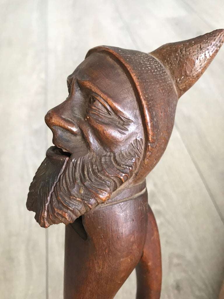 Wood Antique Hand Carved and Mint Condition Black Forest Gnome Sculpture Nutcracker For Sale