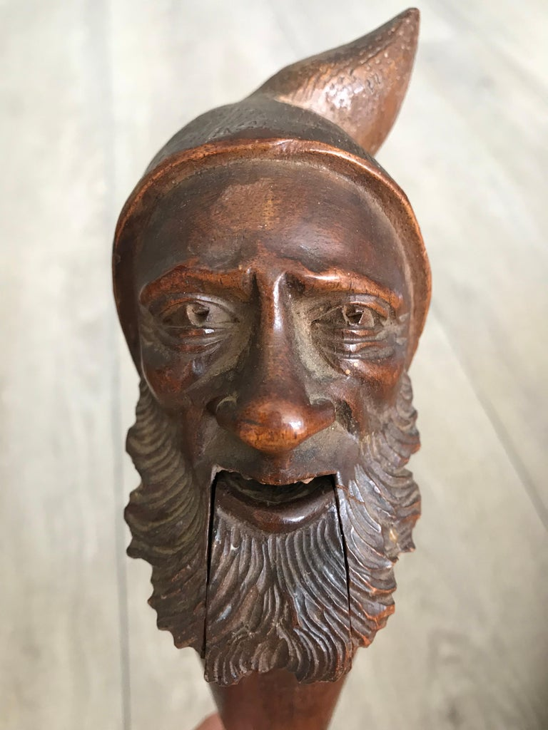 Antique Hand Carved and Mint Condition Black Forest Gnome Sculpture Nutcracker For Sale 2