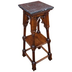 Antique Hand Carved Nutwood & Stunning Marble Top Gothic Revival Pedestal Stand