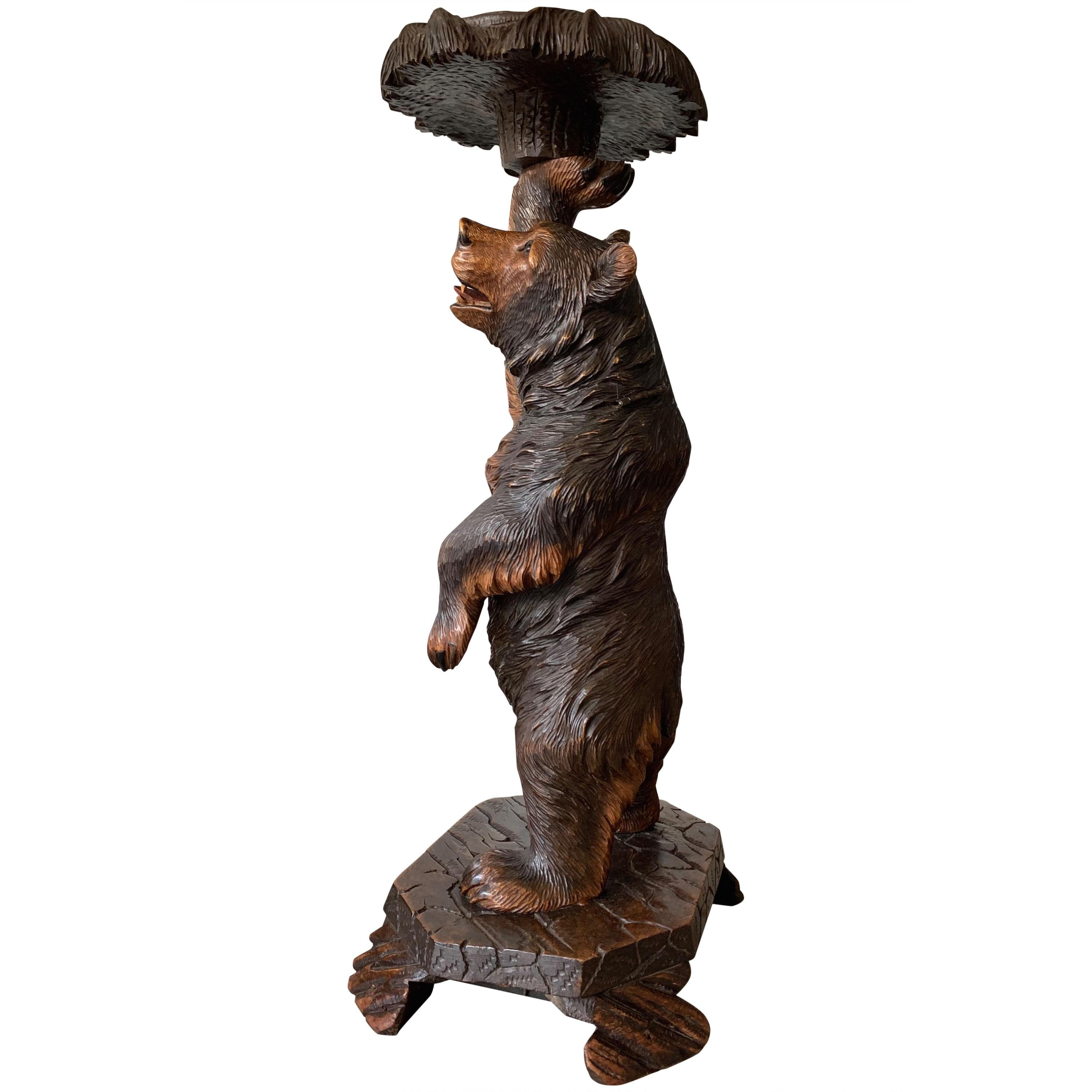 Hand Carved Nutwood Swiss Black Forest Bear Table Stand with Hinging Head