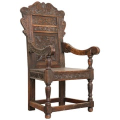 Antique Hand Carved Oak Armchair from Norway