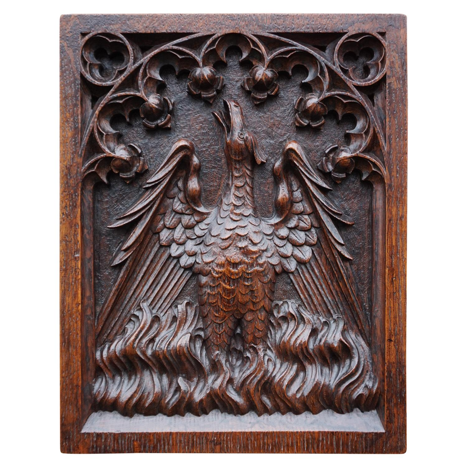 Antique Hand Carved Oak Gothic Art Panel of an Eagle as Symbol of Saint John